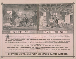 Advert for the Victoria Tea Company, reverse side